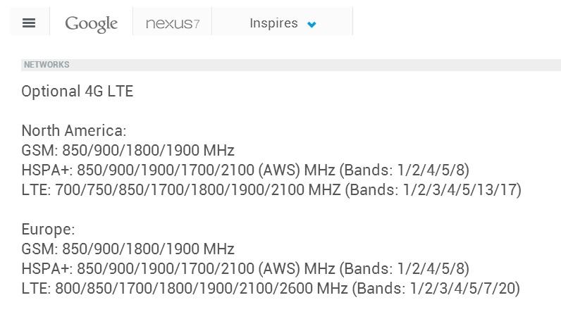 Google Nexus 7 (2013) LTE Europa