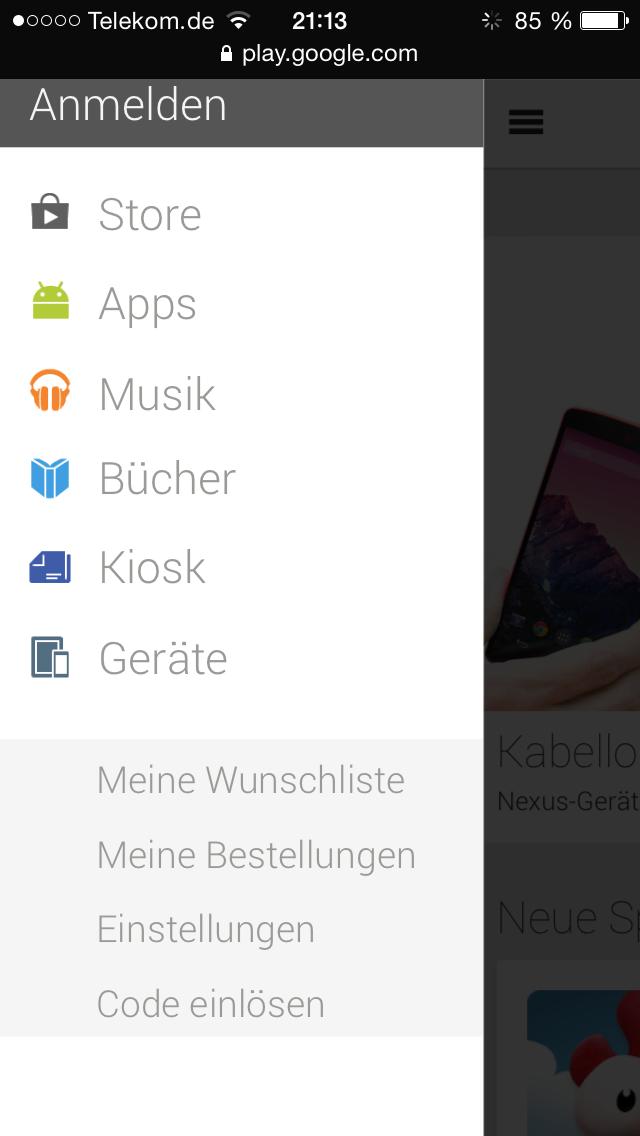 Google Play Store Menü