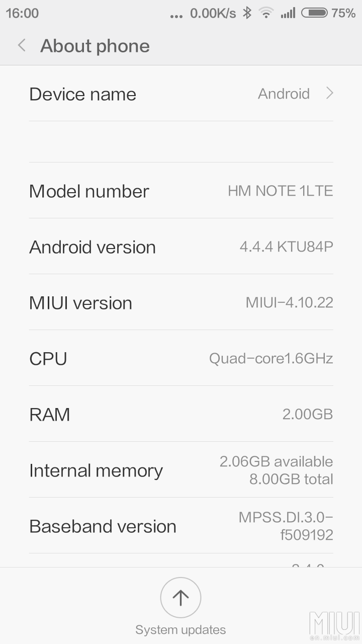 Redmi Note 1 4G MiUI 6